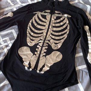 Metallic skeleton zip up bodysuit